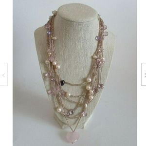 Pearl Crystal & Rose Quartz Multi Strand Necklace